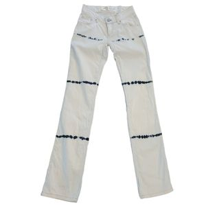 Waggon Paris White Jeans with Tie Dye accents S 25